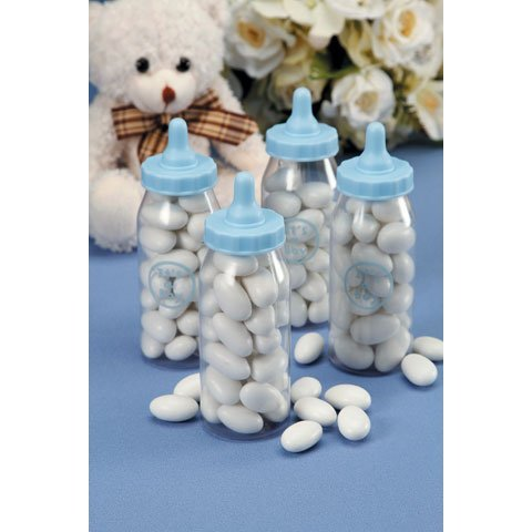 Baby Shower Boy Party Favor Candy Fillable Blue Color 12 Bottles 4 Inch Size