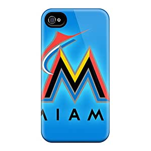 Shock Absorption Cell-phone Hard Cover For Iphone 6plus With Custom Vivid Miami Marlins Series KellyLast