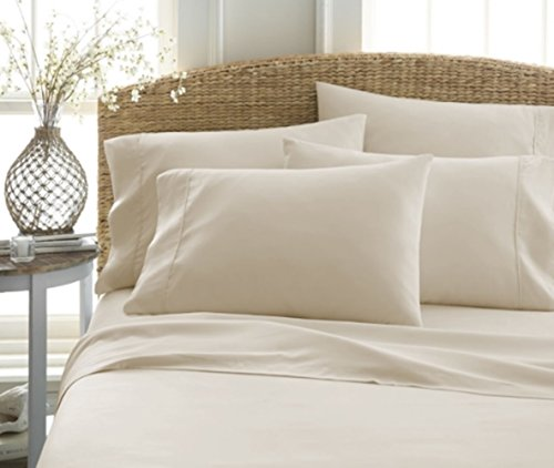 Golden Linen Highest Quality Ultra Soft 4 Piece Eco-Friendly Deep Pocket Bamboo Bed Sheets Hypoallergenic and Wrinkle Resistant  (KING, CREAM)