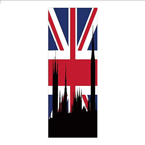 3D Decorative Film Privacy Window Film No Glue,Union Jack,Houses of The Parliament Silhouette on UK Flag Historic Urban Skyline,Royal Blue Black Red,for ()