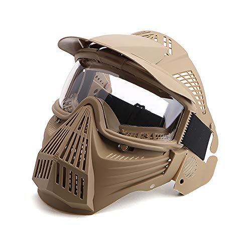 Anyoupin Paintball Mask, Airsoft Mask Full Face with Goggles Impact Resistant for Airsoft BB Hunting CS Game Paintball and Other Outdoor Activities (Tan-Clear Lens)