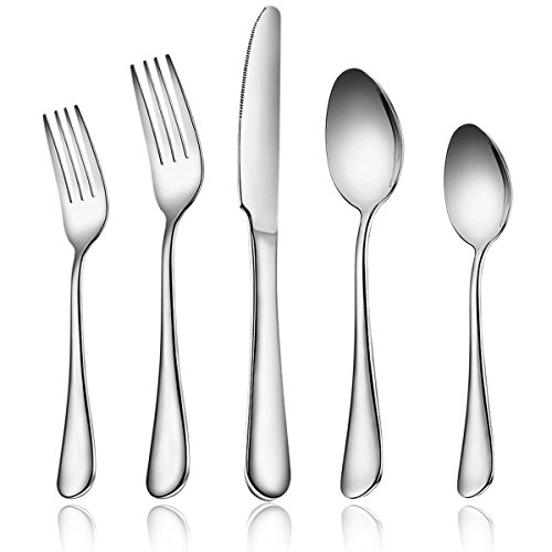 28 Pieces Silverware Flatware Cutlery Set, Footek Stainless Steel Utensils Silverware Tableware, Knives Forks Spoons for Dessert & Dinner, Mirror Polished, Dishwasher Safe