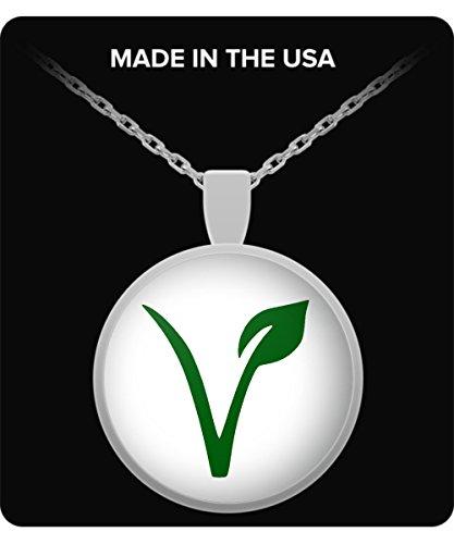 (Gearbubble Vegan Pride Pendant Necklace - Vegan Gift-White)