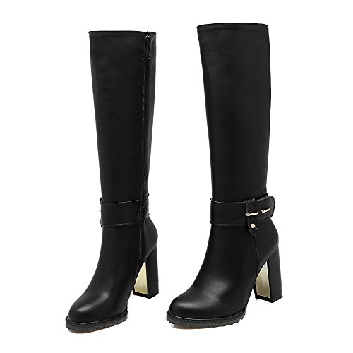 Heels Closed top High Allhqfashion Women's PU Black High Round Boots Toe Zipper wqtYq7