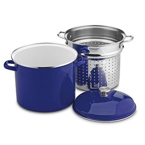 - Cuisinart EOS126-28CBLSCP 3 Piece Stockpot/Steaming Set with Self-Draining Clip, 12 quart, Cobalt Blue