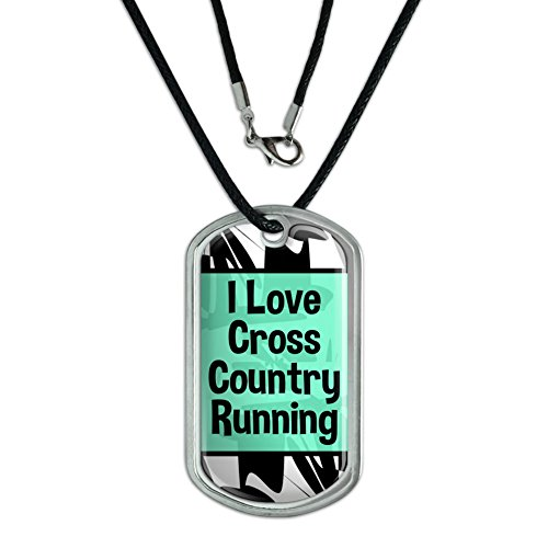 Dog Tag Pendant Necklace Cord I Love Heart Sports Hobbies Co-Ea - Cross Country Running