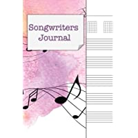 Songwriters Journal: Songwriting Notebook , Cornell Notes and Staff Paper with room for Guitar Chords, Lyrics and Music. Songwriting Journal for Musicians, Students , Lyricists. Pink Yellow Watercolor Stave