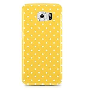 Samsung Galaxy S6 Edge Case Yellow Polka Dots-Hard Plastic Tough Wrap Around Phone Cover