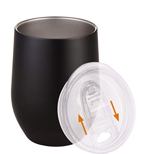 Wine Tumbler with Lid 12oz Double Wall Vacuum Insulated Stainless Steel Stemless Wine Glasses Cup for Keeping Wine, Coffee, Cocktail, Beer, Ice Cream, Champagne, Beverage in Winter Black Qutool