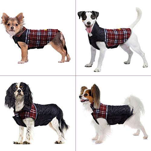 - Dog Jacket Dog Coat for Winter Reversible Dog Down Jacket Dog Clothes S,M,L,XL,2XL Waterproof Windproof Cold Weather British Style Plaid Warm Dog Vest & Dog Sweater for Small Medium Large Dog Sweater