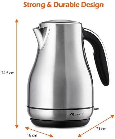 PureMate PM1794 Stainless Steel Electric Kettle 1.7L with Removable & Reusable Filter, Boil-Dry Protection and Auto Shut - 3000W