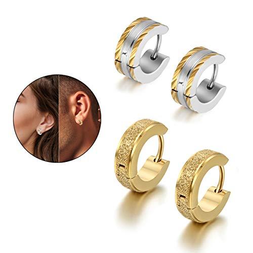 Tear Hoop - Flongo Men's Classic Stainless Steel Matte Hoop Huggie Stud Earrings, Polished Finish Edge Hoop Huggy Earrings for Men Women, Christmas Valentine Gift Hinged Hoop Earrings