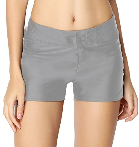 HOLYSNOW Women's Stretch Board Short | Briefs Inner Lining | Comfort Quick Dry (L(US 12-14), - Swim Running In Shorts