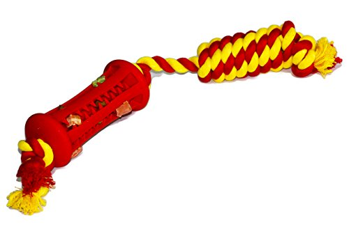 LETMECHEW CHEW with ROPE - Puppy TREAT Dispensing Toy Teeth Cleaner for puppy and aggressive chewer - Hide and Seek Interactive Stimulating Training for bored dogs - Stick (Medium)