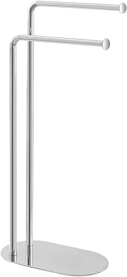 17x30xh.80 cm Inbagno Piantana Asciugamani cromata Base Ovale salvaspazio con Due Bracci