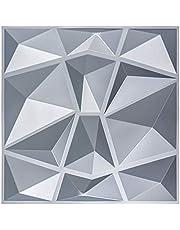 """Art3d 3D Paneling Textured 3D Wall Design, Grey Diamond, 19.7"""" x 19.7"""" (12 Pack)"""