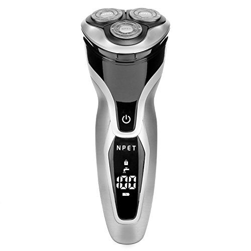 Electric Shaver Razor for Men 2 in 1 NPET ES8109 USB Quick Rechargeable Electric Razor, IPX7 Waterproof Wet & Dry Rotary Shavers with LED Display, Travel Lock & Pop Up Trimmer - Silver + Black