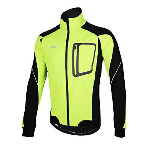 - ARSUXEO Winter Thermal Fleece Cycling Jacket Windproof 14D Green Size X-Large