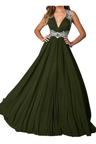 con sera V in Verde oliva scoperta a schiena pizzo da festa da da abito inserti a scollo lungo donna ivydressing AvnT4v