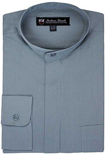 Fortino Landi Men's Cotton Blend Banded Collar Dress Shirt SG15-Gray-15-15 1/2-34-35