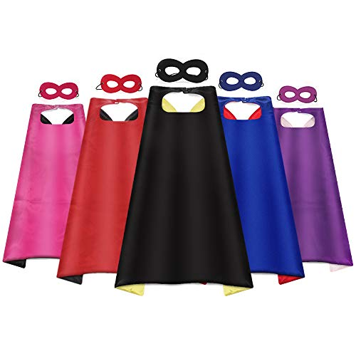 Ananteke Kid Capes Superhero Capes Boys Girls Capes Double-Side Capes Birthday Party Role Play Halloween's Day (Included Mask) (5 Set Capes)
