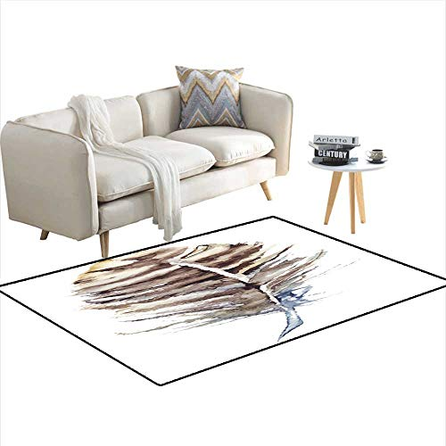 Kids Carpet Playmat Rug Watercolor Brown Stripe Single Feather Vector Isolated 40