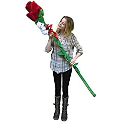 Giant Stuffed Rose Is 6-feet Tall with I Love You Teddy Bear Wrapped Around Stem - Big Valentine Valentines Day or Any Day Love Gift