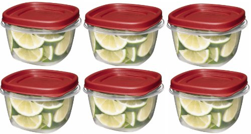 Rubbermaid SYNCHKG045854 085275708479 7J60 Easy Find Lid Square 2 Food Storage (Containers), 2 Cup, Pack of 6, Red, Clear