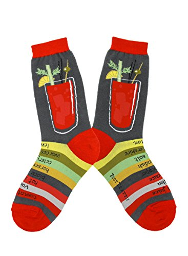 Foot Traffic Bloody Mary Drink Socks, Cute, Quirky & Comfortable, Red & Grey (Women's Shoe Sizes 4-10)