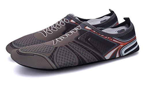 Demetry Unisex Quick-Dry Wasserschuhe Leichte Aqua Socken zum Schwimmen, Wandern, Yoga, Strand, Wasserpark Dunkelgrau