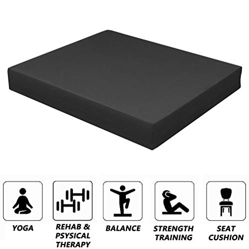 Strainho Non-Slip Balance Foam Pad,Gym Exercise Mat for Physical Therapy, Stability Workout, Knee and Ankle Exercise, Strength Training, Rehab - Chair Cushion for Adults, Kids, and Travel(Black)