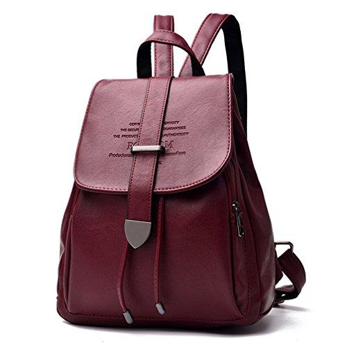 Moda Mujer Cuero Mochila mochilas escolares para niñas adolescentes sólido negro Carta Daypacks Casual 02 Borgoña