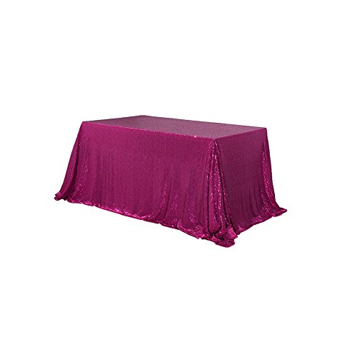 TRLYC Handmaded Sequined Tablecloth 60 inches by 102 inches, Fuchsia Pink Rectangular ()