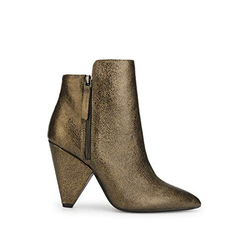 Dress Womens Boots Zip (Kenneth Cole New York Women's Galway Side Zip Heeled Bootie Ankle Boot, Antique Gold, 9 M US)
