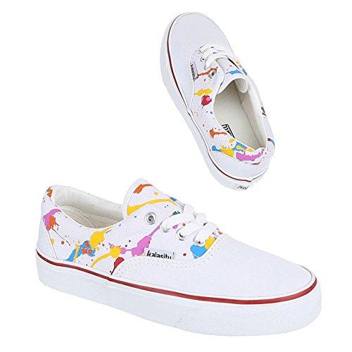Ital-Design Damen Schuhe, YJ876017-1, Freizeitschuhe Schnürer Sneakers Weiß