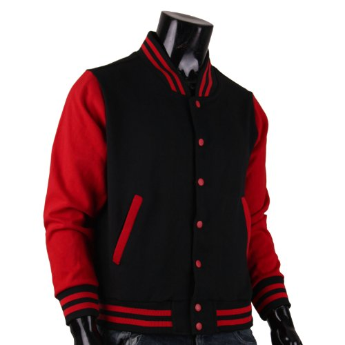 Bcpolo Men S Varsity Jacket Black Red Baseball Jacket Letterman