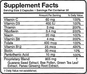 30 Days Energy All Natural Supplement/Vitamin - Guaranteed Pure All Day Energy Boost With No Bad Side Effects. 60 Capsules. Healthier than 5 hour energy, monster, and redbull. FREE SHIPPING SEE DETAILS BELOW