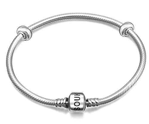 Finished Pandora Bracelet (Womens 925 Sterling Silver Clasp Snake Chain Bracelet with 2 Rubber Spacer Charm for European Bead Charms (21cm ( 8.3inch)))