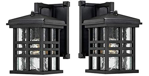 Ciata Lighting Wall Lanterns   Weather-Resistant Outdoor Lamps   Decorative Scroll Sconce Arm, Scalloped Edges & Clear Beveled Glass for Front Porch, Backyard & Gardens   Pack of 2, ()