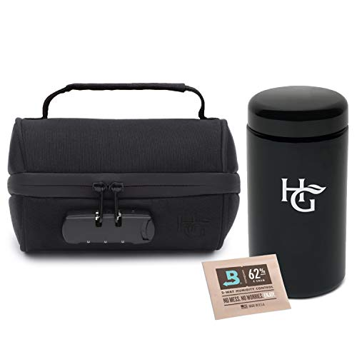 Herb Guard - 1 Oz Airtight Container and Smell Proof Stash Jar (500 ml) with Locking Protective Case - Comes with Humidity Pack, HG Grinding Card and Resealable Travel ()