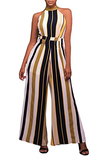 Selowin Ladies Fashion Striped Bandage Loose Wide Leg Pants One Piece Jumpsuit L (Sexy Pants Suits)