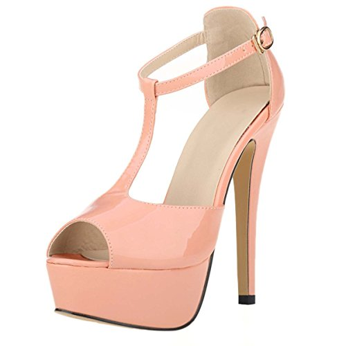 Donna Dress Peep strap Platform Rosa Toe T Hooh Sandali w0dXzXqf