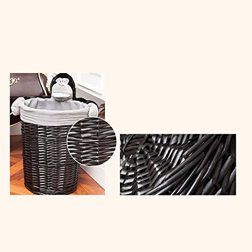 JSSFQK Rattan Storage Basket Cartoon Storage Basket, Dirty Clothes Toy Snack Storage, Black, Three Sizes Storage Box (Size : M) by JSSFQK (Image #3)