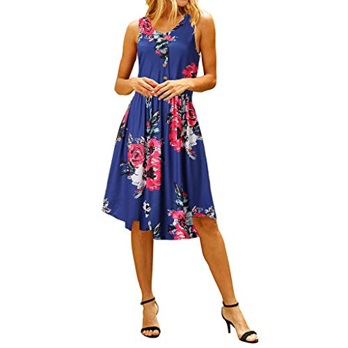 Big Sale,Yetou Women's Flowy Boho Beach Long Dress Dot Print Halterneck Spotted Belt Ladies Summer Midi Sun Dress Blue