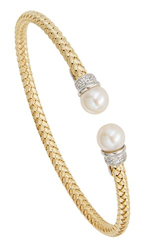 Weave Silver Bracelet (SilverLuxe Sterling Silver Weave Bracelet with Genuine Cultured Pearl and Cubic Zirconia)