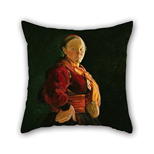 TonyLegner Oil Painting Halfdan Egedius - Portrait of Mari Clasen Pillowcase 18 X 18 Inches / 45 by 45 cm Gift Or Decor for Dinning Room Monther Living Room Divan Festival - Each Side