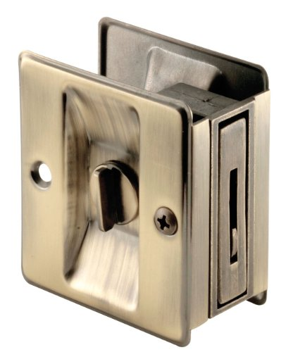Prime-Line Products N 6774 Pocket Door Privacy Lock with Pull, Antique Brass - Antique Pocket