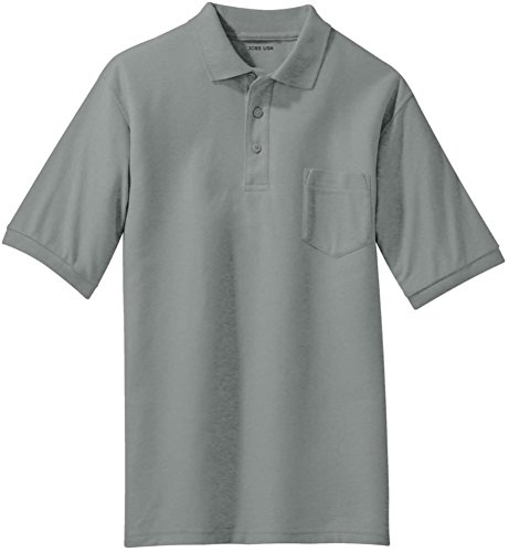 - Joe's USA(tm Mens Silk Touch Pocket Polo-Cool.Grey-L