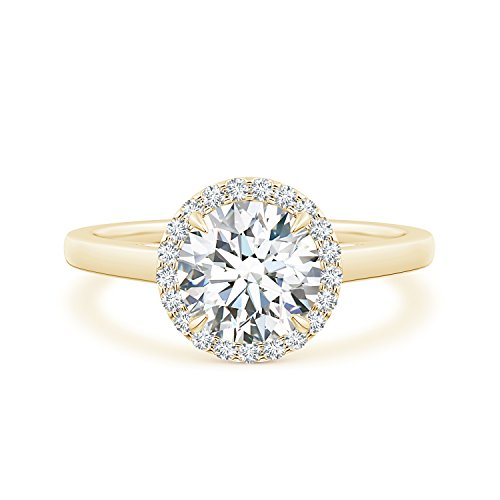 Cathedral Round Lab Grown Diamond Halo Ring with Claw-Setting in 14k Yellow (Cathedral Ring Setting)