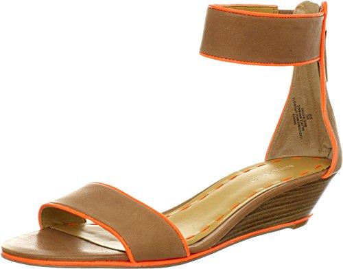 Nine West Women's Vilta Natural/Orange Leather Sandal 8.5 M